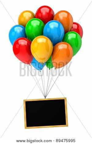 Bunch Of Balloons Holding Up A Blank Chalkboard