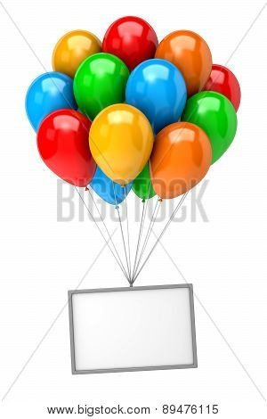 Bunch Of Balloons Holding Up An Empty Banner