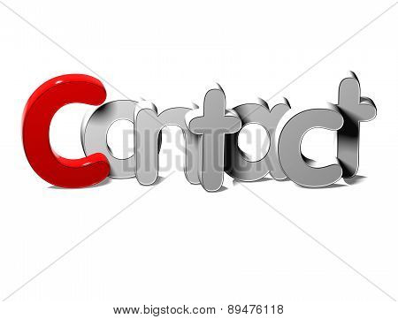 3D Silver Word Contact On White Background