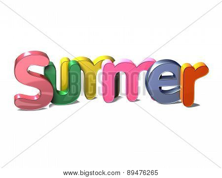 3D Colorful Word Summer On White Background
