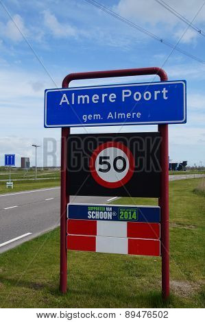 Welcome sign: entering the Almere Poort