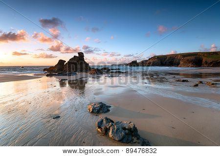 Porthcothan Bay In Cornwall