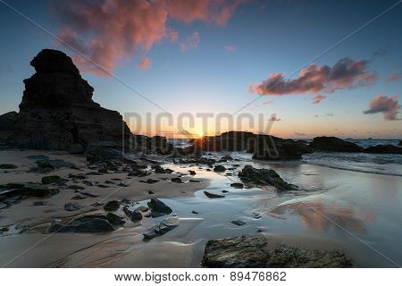 Low Tide At Porthcothan Beach