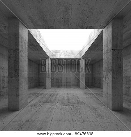Concrete Room Interior, Opening In Ceiling And Columns