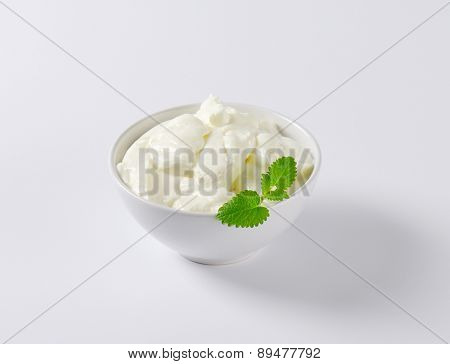 bowl of fresh plain yogurt