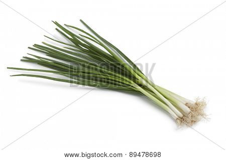 Bunch of fresh spring onions on white background