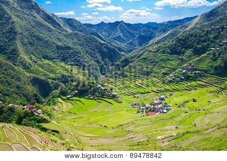 Rice Terraces In The Philippines. The Village Is In A Valley Among The Rice Terraces.