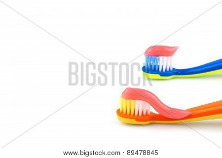 Color Toothbrushes With Pink Toothpaste