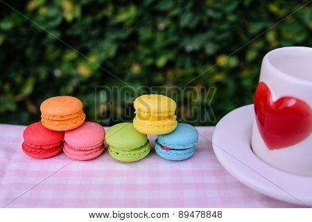 Colorful Mini Macarons With Love Mug