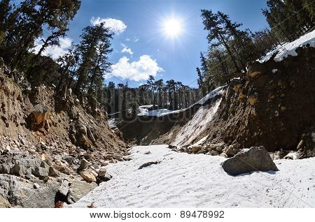 Mountain River Bed In Steep Canyon