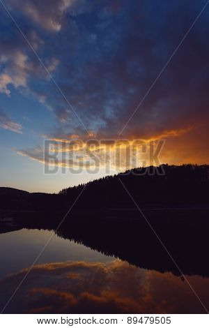 Sunset View With Reflections In Water