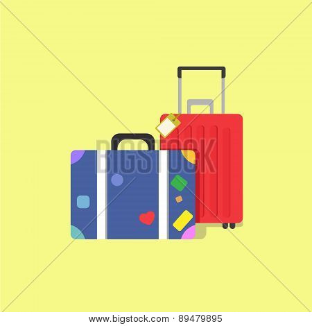 Travel Bags, Suitcase With Stickers, Travel