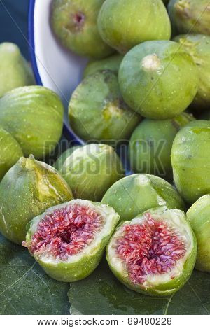 Closeup Of A Vertical Composition Of Green Figs