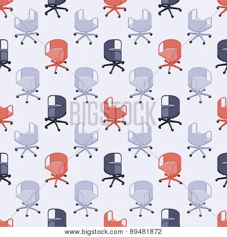 Seamless pattern with colored office chairs