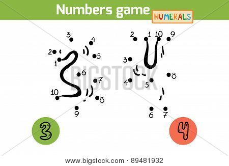 Numbers Game (numerals): Three, Four. Numbers From One To Ten