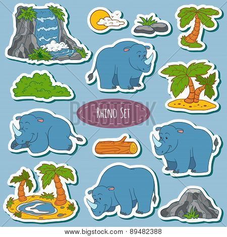 Set Of Various Cute Rhino, Vector Stickers Of Animals And Items Of Nature