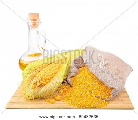 Composition From Corn, Maize Flour In Sack, Oil On The Mat