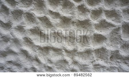 Bubble Texture On White Cement Wall Finishing Horizontal