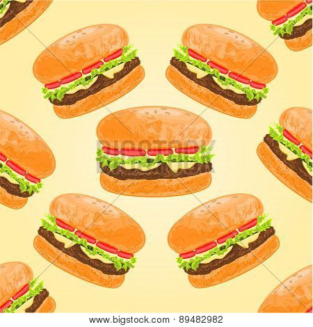 Seamless Texture Hamburgers Vector
