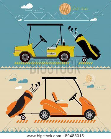 Vector modern flat design on summer golf car. Bag of Golf clubs on the trailer.