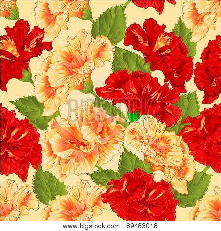 Seamless Texture Red And Yellow Hibiscus Vector