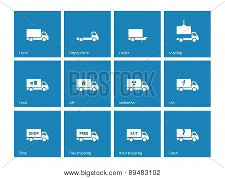 Commercial delivery truck icons on blue background.