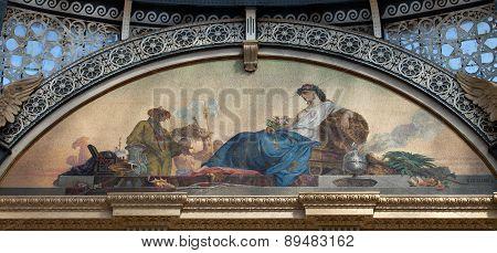 Mosaic Representing Asia At The Galleria Vittorio Emanuele Ii In Milan