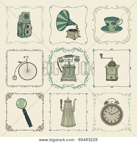 Vector Vintage Colorful Icons, Objects and Frames