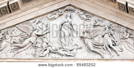 Tympanum On The Facade Of San Fedele In Milan, Depicting Coronation Of Mary