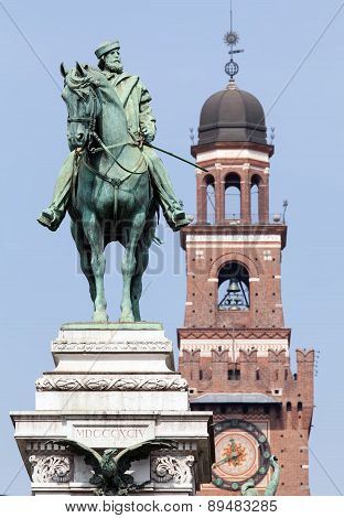 Garibaldi's Statue In Milan Before Castello Sforzesco