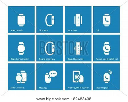 Smart watch icons on blue background.