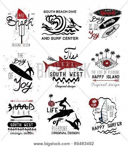 Set of vintage surfing  Labels, logo and design elements