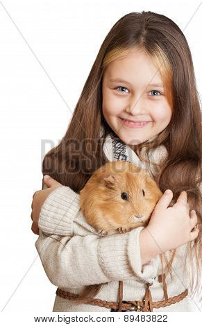 Smiling Girl Holding A Guinea Pig