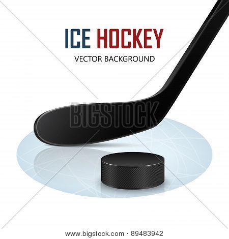 Ice Hockey Stick And Puck On Rink. Vector Background.
