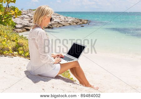 Businesswoman working with computer on the beach