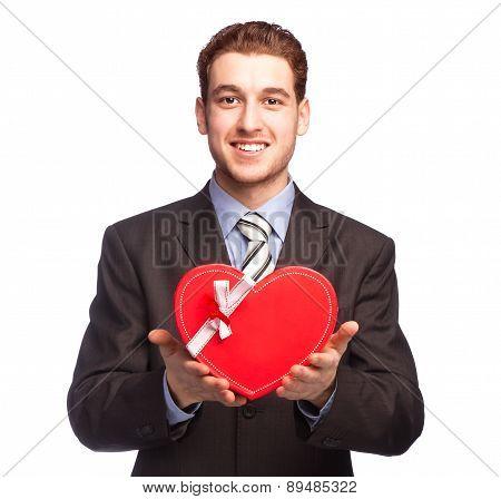 Businessman Giving A Heart-shaped Gift