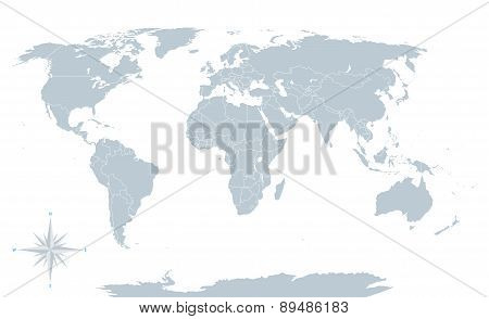 Political world map, grey, with white borders