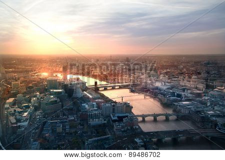 London sunset view from the Shard. Centre of London, London eye, River Thames with beautiful light