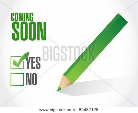 Coming Soon Check Mark Sign Concept
