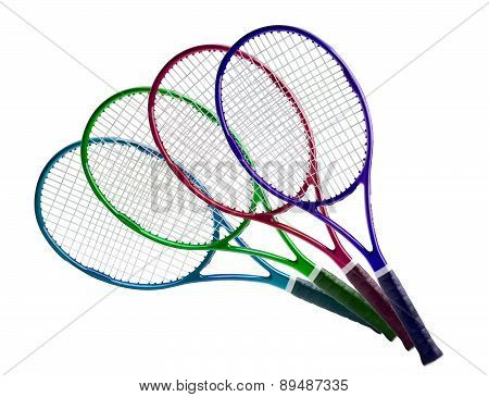 Tennis Equipment: Colorful Rackets Isolated On White Background