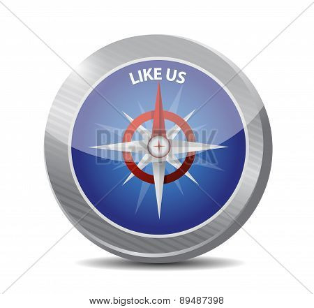 Like Us Compass Sign Concept Illustration