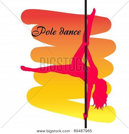 Pole Dancer With Long Hair  On The Pole  On The Yellow & Red Background. Vector