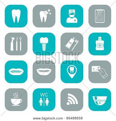 Set Of Dental Icons. White. Flat Design. Vector