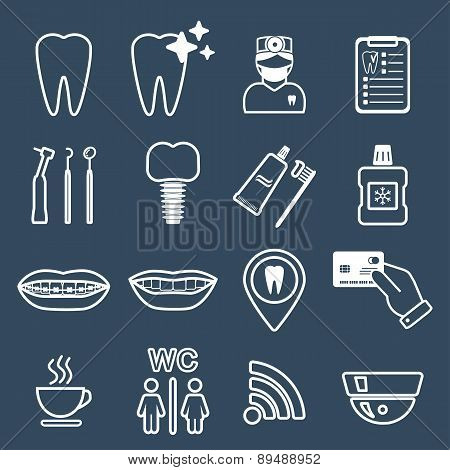 16 Line Of Dental Icons. White. Vector
