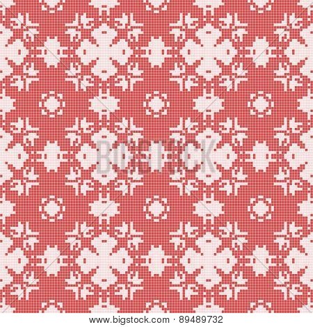 Filet Crochet Lace Design. Seamless Background In Red