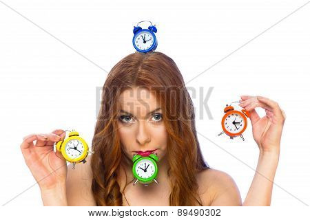 Woman With Alarm Clocks