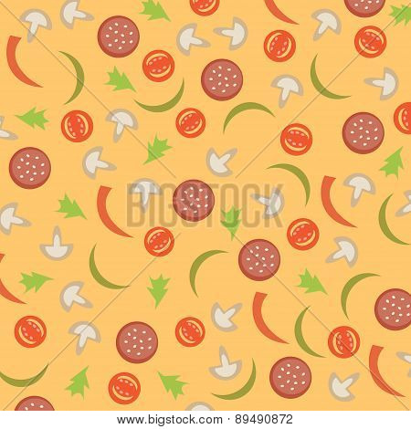 Vector Abstract Background With Sausage, Tomato, Mushrooms And Peppers