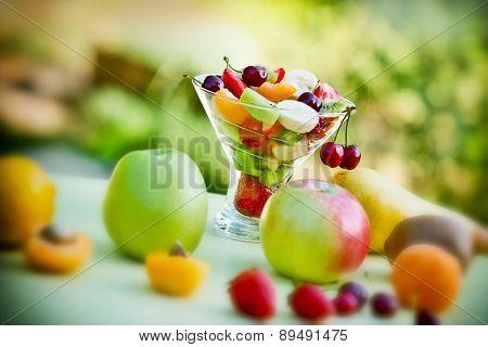 Fruit salad of fresh organic fruits