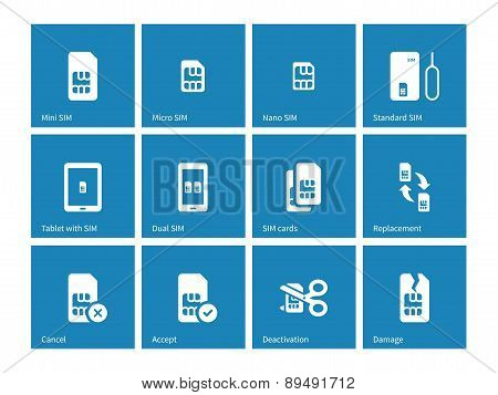 SIM cards icons on blue background.