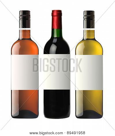 Bottles Of Red, Pink And White Wine Isolated On White